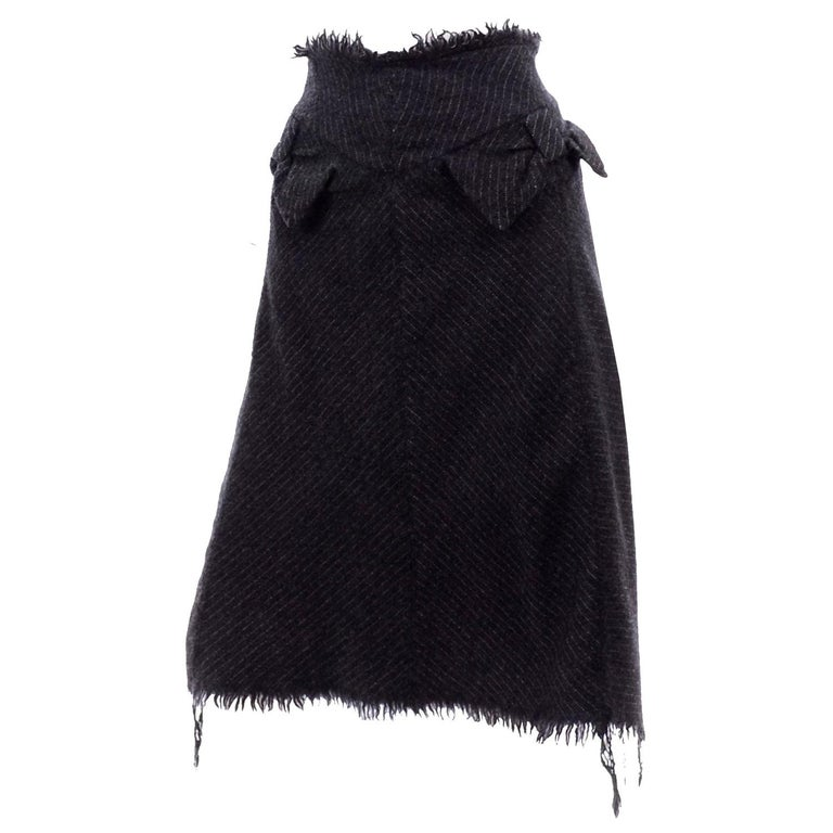 Junya Watanabe Comme des Garcons Fall Winter 2003 Distressed Gray Wool Skirt For Sale