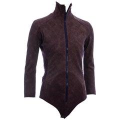 Junya Watanabe Comme des Garcons plum bias-cut wool zip-up bodysuit, fw 2004