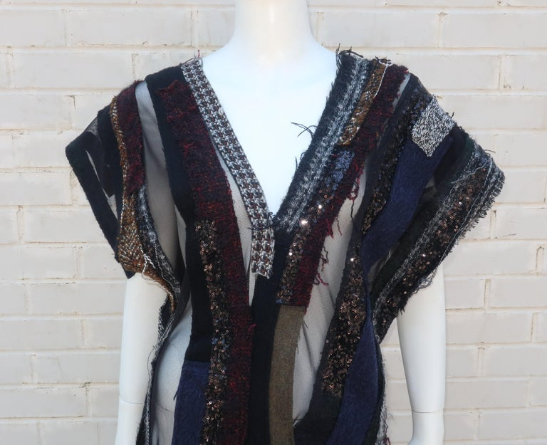 Black Junya Watanabe Comme des Garcons Deconstructed Wool Tweed Dress For Sale