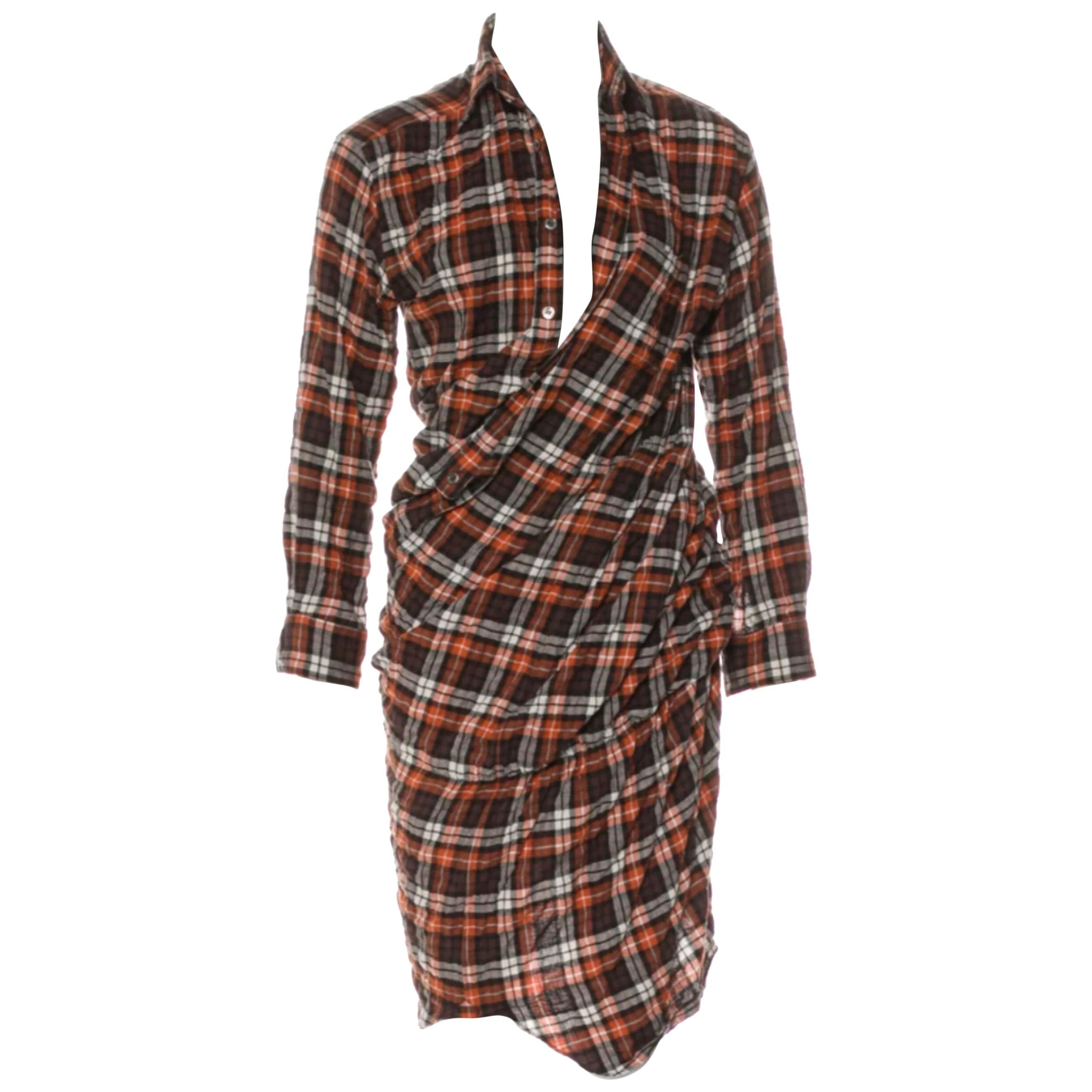 Junya Watanabe for Comme des Garcons Plaid Twisted Dress