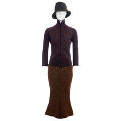 Junya Watanabe multicoloured wool tweed pant suit and hat, fw 2004