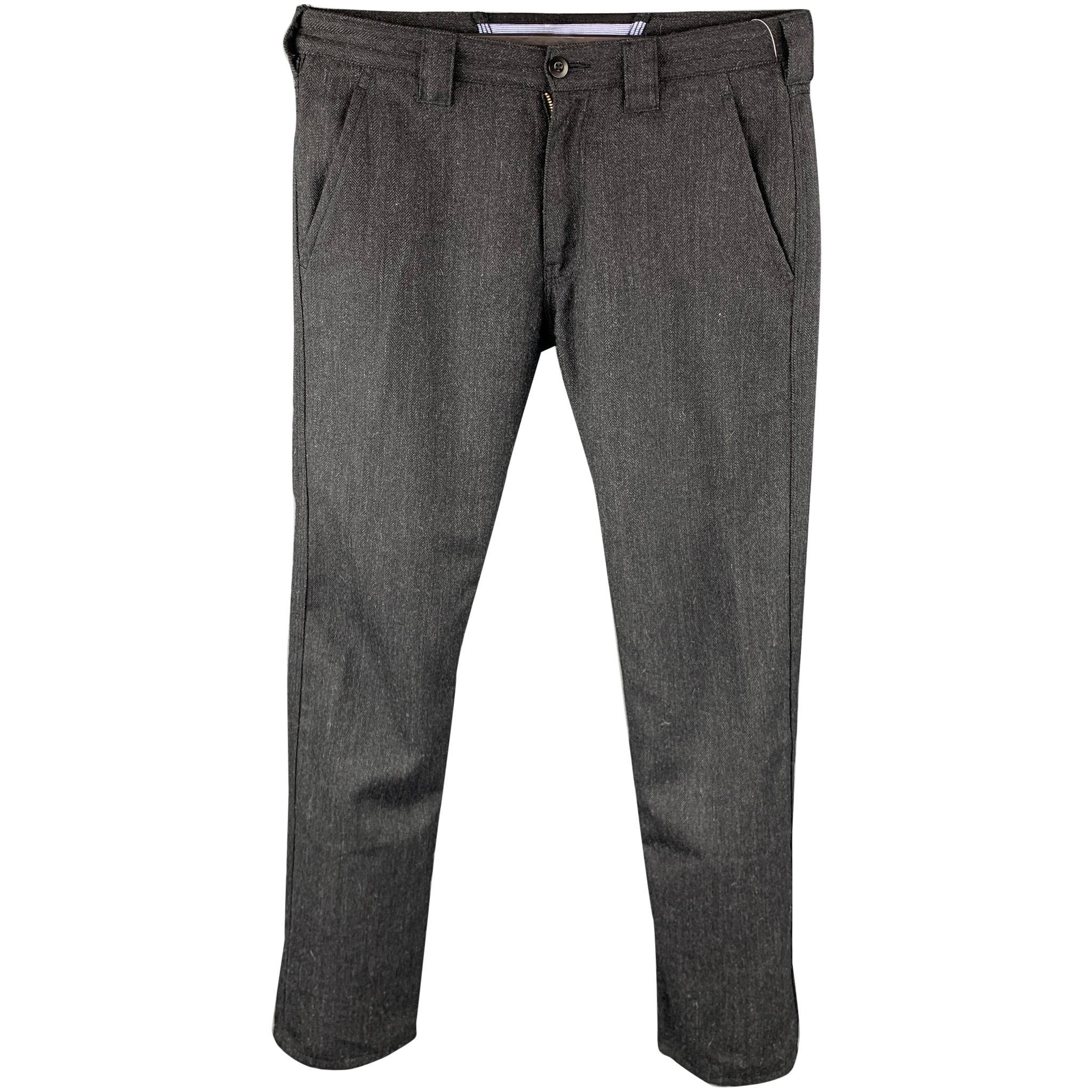 JUNYA WATANABE Size L Charcoal Herringbone Wool Blend Dress Pants