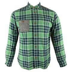 JUNYA WATANABE Size L Green Plaid Cotton Button Down Long Sleeve Shirt