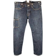 JUNYA WATANABE Size L Indigo Contrast Stitch Denim Button Fly Jeans