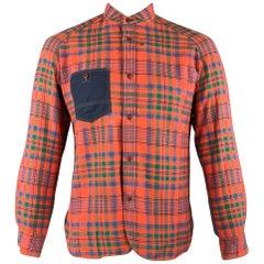 JUNYA WATANABE Size L Orange Plaid Cotton Patch Pocket Long Sleeve Shirt