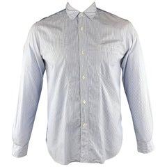JUNYA WATANABE Size L White & Blue Cotton Button Up Long Sleeve Shirt