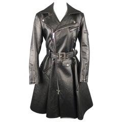 JUNYA WATANABE Size M Black Faux Leather Biker Moto Jacket A line Skirt Coat