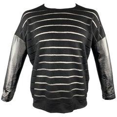JUNYA WATANABE Size M Black Stripe Wool Blend Crew-Neck Pullover