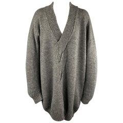 JUNYA WATANABE Size M Grey Wool Oversized Woven Cable Knit Sweater