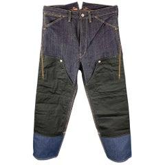 JUNYA WATANABE Size M Indigo Mixed Materials Contrast Stitch Denim Zip Fly Jeans