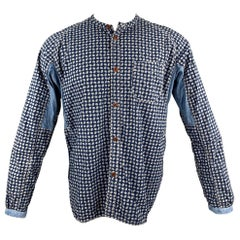 JUNYA WATANABE Size M Indigo Print Cotton Nehru Collar Long Sleeve Shirt