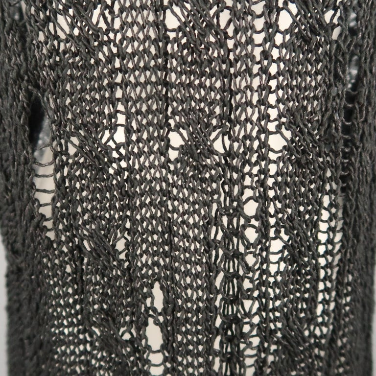 Women's JUNYA WATANABE Size S Black & Gray Distressed Cable Knit Pullover For Sale
