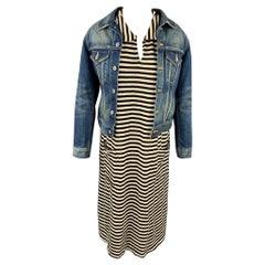 JUNYA WATANABE Size S Black & White Stripe Jersey Layered Denim Jacket Dress