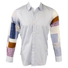 JUNYA WATANABE Size S Blue & White Patchwork Stripe Cotton Long Sleeve Shirt