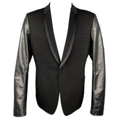 JUNYA WATANABE Size XL Black Mixed Materials Wool Tuxedo Sport Coat