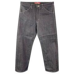 JUNYA WATANABE Size XL Indigo Patchwork Cotton Blend Zip Fly Jeans
