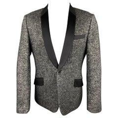 JUNYA WATANABE Size XL Silver & Black Tweed Wool Blend Sport Coat