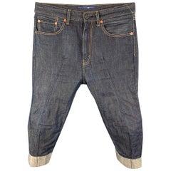 JUNYA WATANABE Size XS Indigo Contrast Stitch Cotton / Linen Cropped Jeans