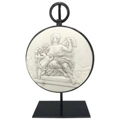 Jupiter and Venus Bas Plaster Relief with Custom Stand