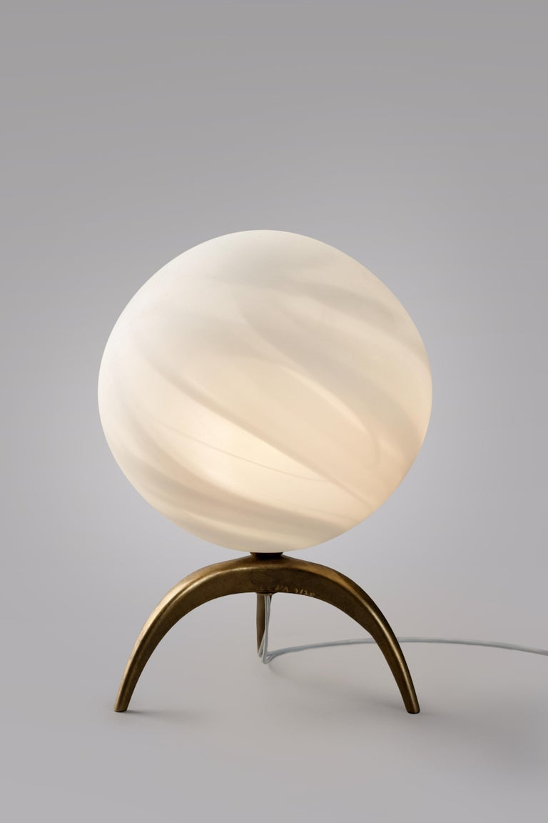 French Jupiter Blown Glass Table Lamp, Ludovic Clément d'Armont For Sale