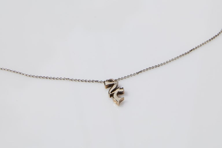 Contemporary Jupiter symbol Necklace Silver Bronze J DAUPHIN For Sale