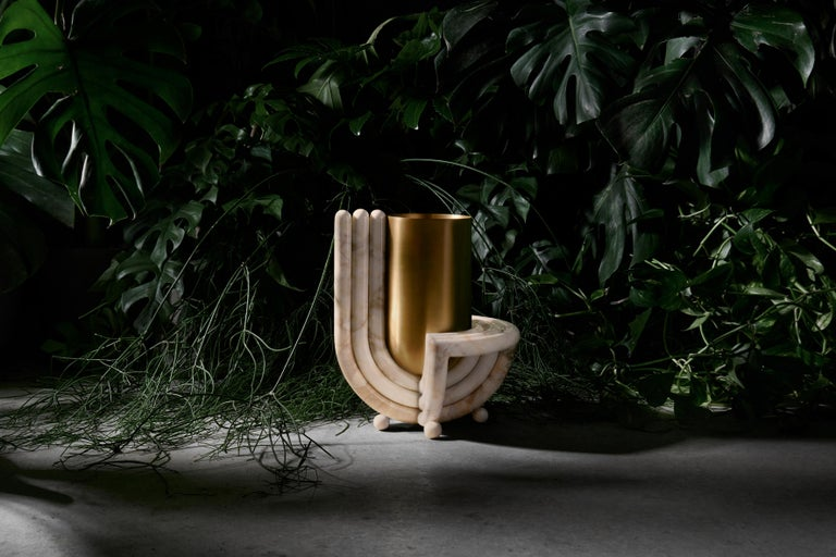 Jupiter Vase, Rosa, Marble and Brushed Brass, by Bohinc Studio In New Condition For Sale In London, GB