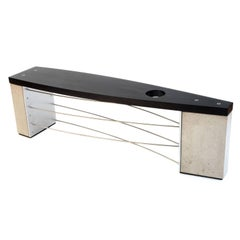 Industrial Modern Bench with Concrete Metal and Black Wood