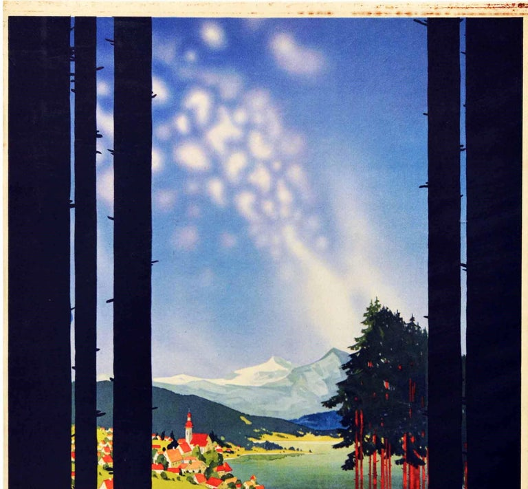 Original Vintage Poster Shell Germany Travel Classic Car Scenic Mountain View - Print by Jupp Wiertz