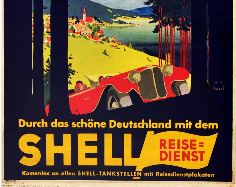 Original Vintage Poster Shell Germany Travel Classic Car Scenic Mountain View - Art Deco Print by Jupp Wiertz