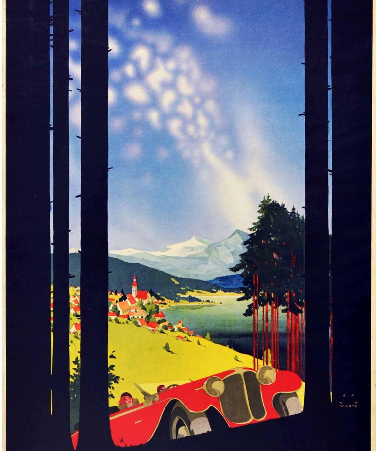 Original Vintage Poster Shell Germany Travel Classic Car Scenic Mountain View - Black Print by Jupp Wiertz