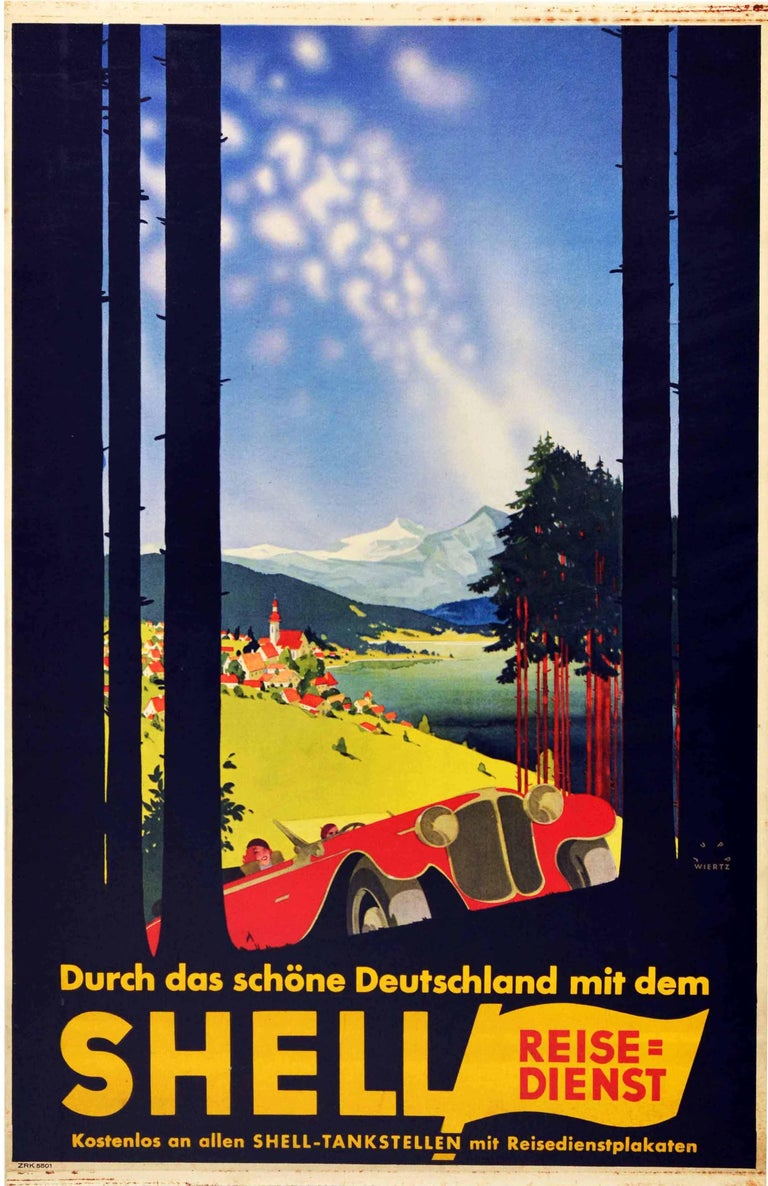 Jupp Wiertz Print - Original Vintage Poster Shell Germany Travel Classic Car Scenic Mountain View