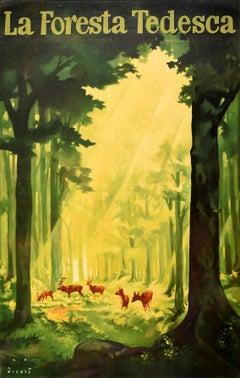 Original Vintage Travel Poster The German Forest La Foresta Tedesca Deer Trees