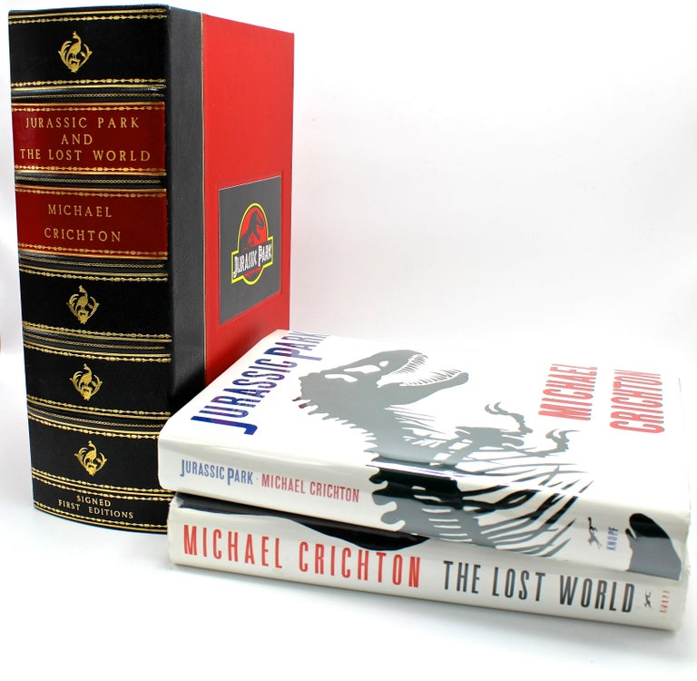 Crichton, Michael, Jurassic Park and The Lost World. New York: Alfred A. Knopf, 1990, New York: Knopf Doubleday Publishing Group, 1995. Signed and Inscribed, first editions, two-volumes. Dust jackets and housed in custom clamshell.
