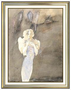 Jurgen Gorg Original Watercolor Painting Signed Female Portrait Pastel Artwork