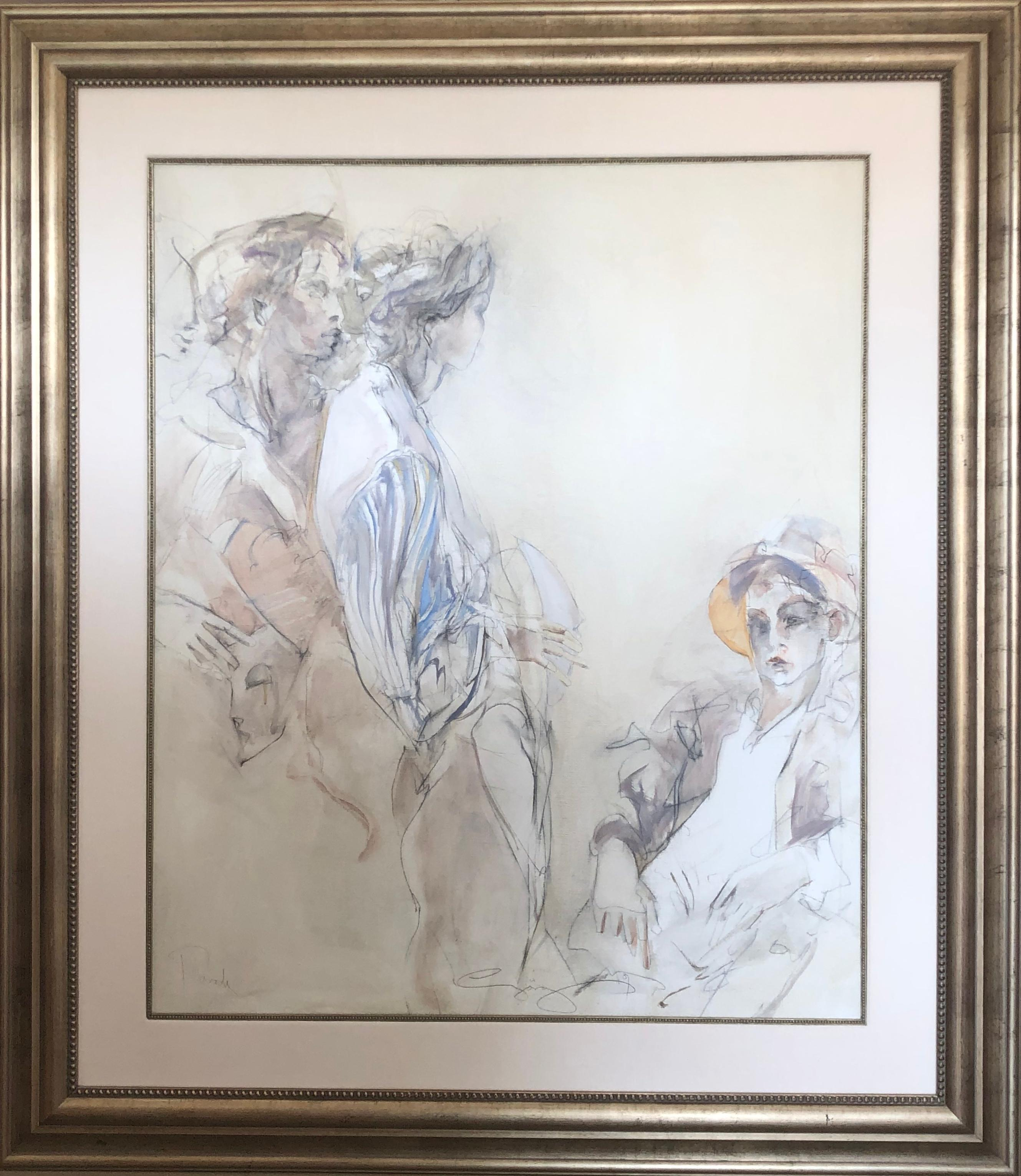 Parade Large Modern Oil Painting With Three Figures
