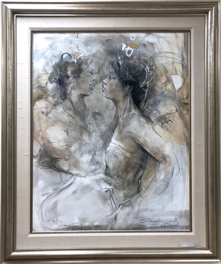 Jurgen Gorg Abstract Painting - Two Figures