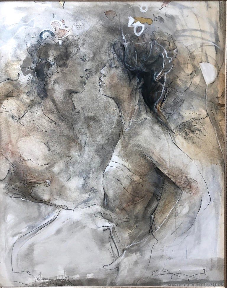 Two Figures  - Painting by Jurgen Gorg