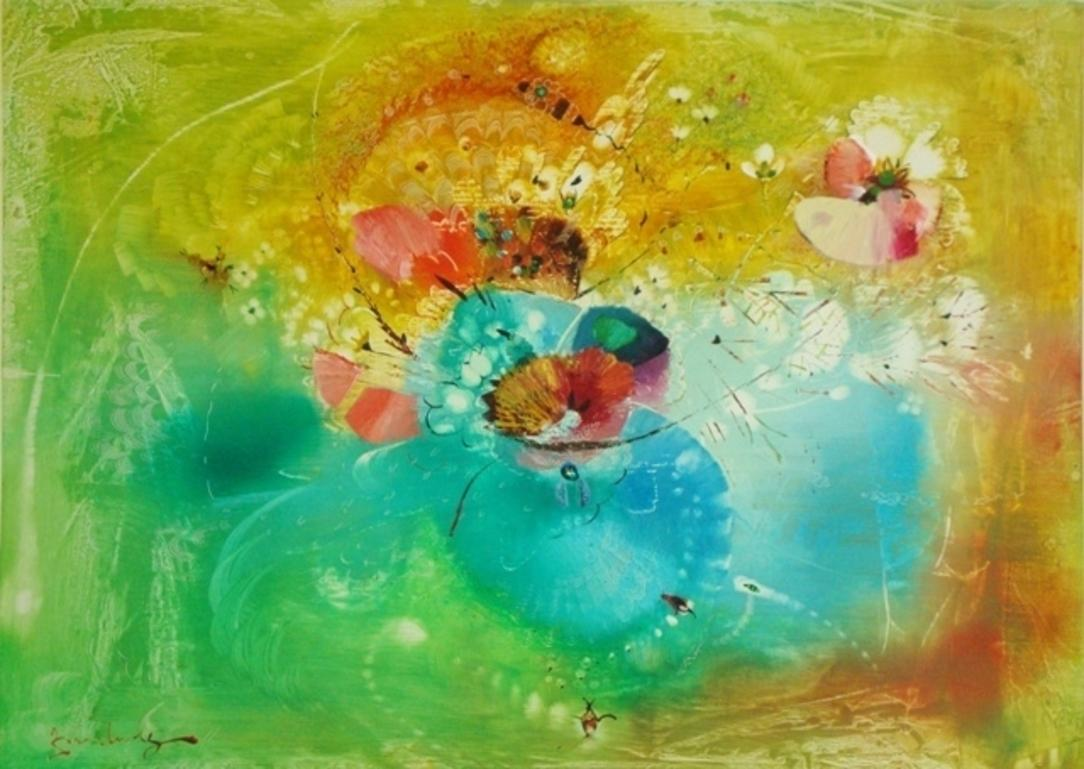 Summer flowers in yellow,green,cyan colors. 1990s.Cardboard,mixed media,73x100cm