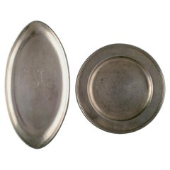 Just Andersen, 2 Large Art Deco Pewter Dishes, Denmark, 1930s