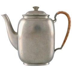 Just Andersen Art Deco Coffee Pot in Pewter with Handle in Wicker