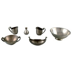 Just Andersen Art Deco Collection of Bowls, Vases and Creamers in Pewter