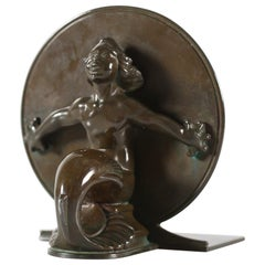 Just Andersen Book End with Mermaid No 1554 Made of Disco Metal in Denmark 1930s