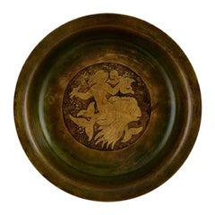 Just Andersen, Bowl in Solid Bronze with Motif of Mermaid, 1920s-1930s