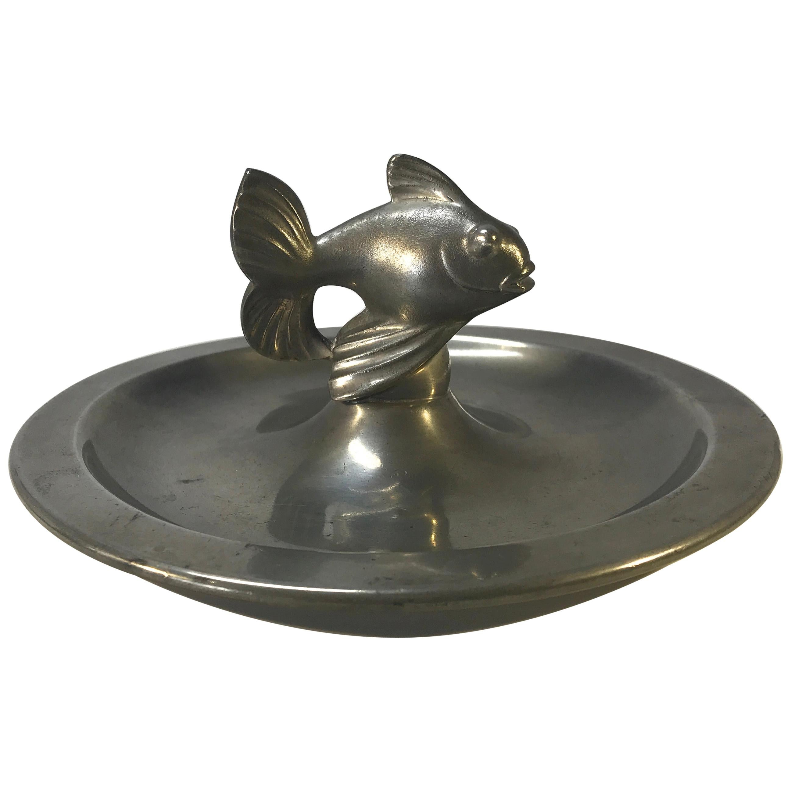 Just Andersen, Denmark 1930s Art Deco Pewter Stylized Fish Vide Poche #1656P