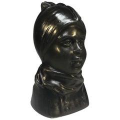 Just Andersen Denmark, 1930s Danish Fano Girl Bronze Bust, Carl Emil Ruge #2111