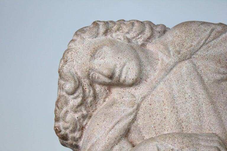 Just Andersen, Denmark, 1940s, Sandstone Sculpture of Samson and the Lion For Sale 6