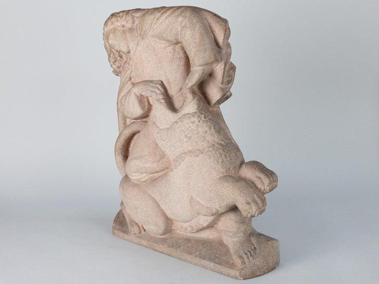 Art Deco Just Andersen, Denmark, 1940s, Sandstone Sculpture of Samson and the Lion For Sale