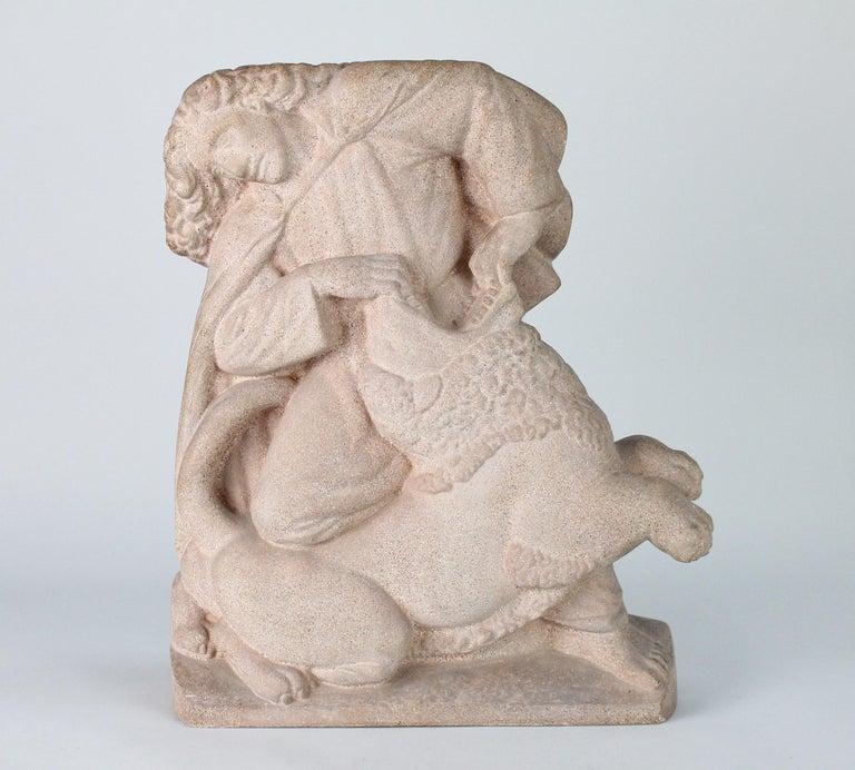 Danish Just Andersen, Denmark, 1940s, Sandstone Sculpture of Samson and the Lion For Sale