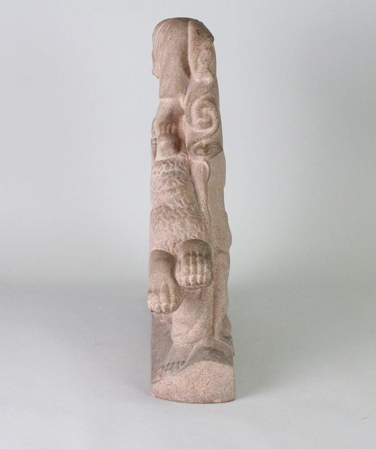 Just Andersen, Denmark, 1940s, Sandstone Sculpture of Samson and the Lion For Sale 1