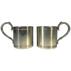Just Andersen, Denmark, Pair Vintage Polished Pewter 1940's Hot Toddy Cups #1289